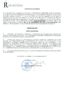 14. Convocatoria Pleno Extraordinario 19.11.2015