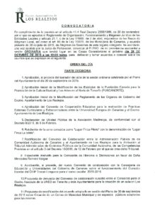 13. Convocatoria Pleno Ordinario 28.10.2015
