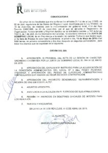 11. Convocatoria Junta de Gobierno Local 16.05.2016