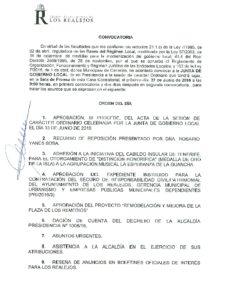 14. Convocatoria Junta de Gobierno Local 27.06.2016