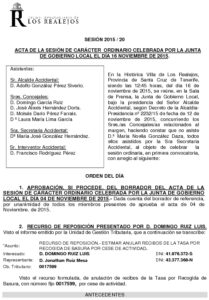 20. Acta Junta de Gobierno Local 16-11-2015