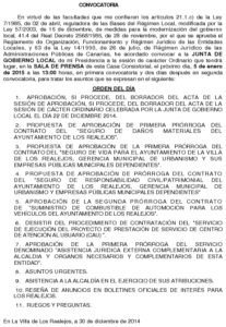 01. Convocatoria Junta de Gobierno Local 05.01.2015
