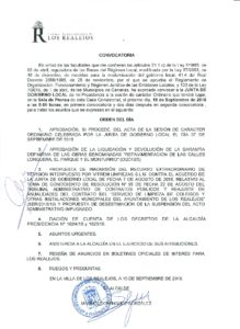 18. Convocatoria Junta Gobierno Local 19.09.2016.