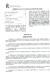 10. Convocatoria Pleno Ordinario 28.09.2016