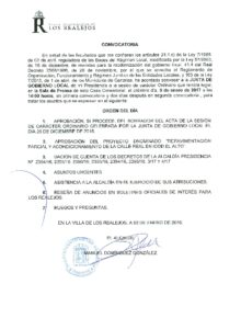 01 Convocatoria Junta Gobierno Local 09.01.2017
