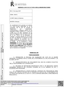 05. Convocatoria Pleno Ordinario 31.5.2017