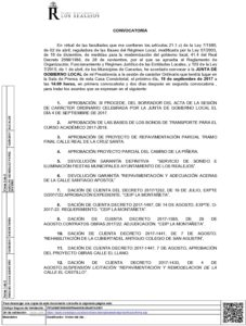 17 Convocatoria Junta Gobierno Local 18.09.2017