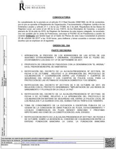 11 Convocatoria Pleno Ordinario 25.10.2017