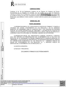 13. Convocatoria Pleno Extraordinario 22.11.2017