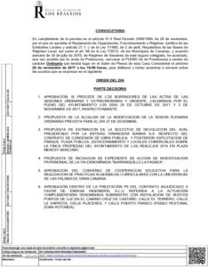 13. Convocatoria Pleno Ordinario 29.11.2017