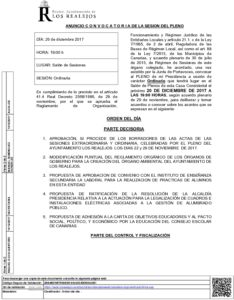 15. Anuncio Convocatoria Pleno Ordinario 20.12.2017