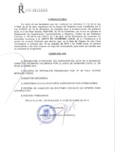 18. Convocatoria Junta de Gobierno Local 19-10-2015