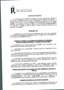 12. Convocatoria Pleno Ordinario 30.10.2014