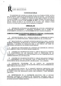 15. Convocatoria Pleno Ordinario 18.12.2014