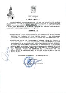 13. Convocatoria Pleno Extraordinario 24.11.2014