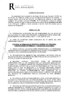 11. Convocatoria Pleno Ordinario 25.09.2014