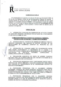 14. Convocatoria Pleno Ordinario 27.11.2014