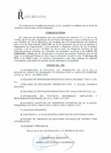 10. Convocatoria Junta de Gobierno Local 13.05.2015