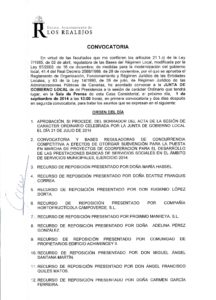 16. Convocatoria Junta de Gobierno Local 01.09.2014
