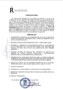 11. Convocatoria Junta de Gobierno Local 26.05.2014