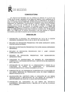 15. Convocatoria Junta de Gobierno Local 21.07.2014