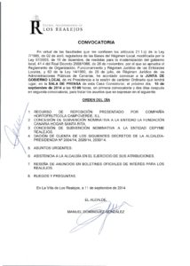 17. Convocatoria Junta de Gobierno Local 15.09.2014