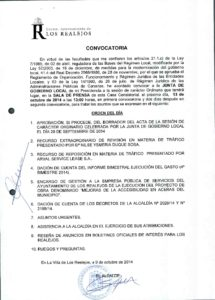 19. Convocatoria Junta de Gobierno Local 13.10.2014