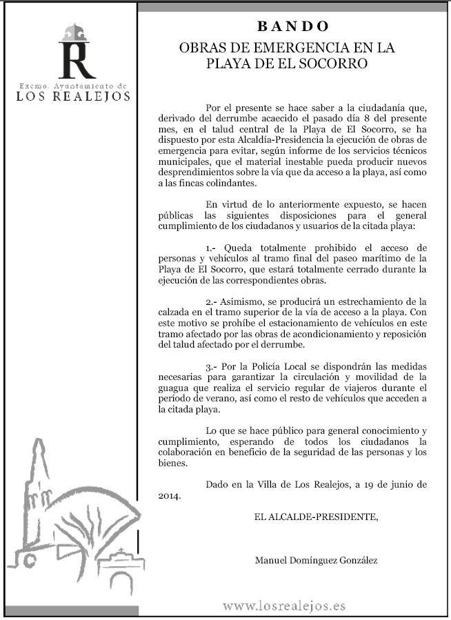 190614 BANDO OBRAS DE EMERGENCIA EN EL SOCORRO